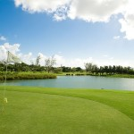A large central lake adds intrigue on 3 holes
